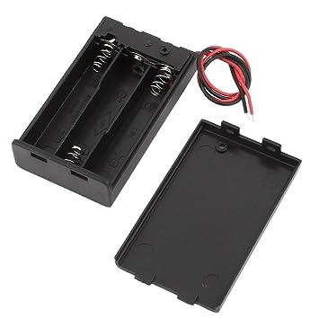 sourcing map Schwarz Kunststoff 9V Batteriehalter Batterie Kasten ON//Off Schalter mit Kappe DE de