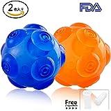 WeinaBingo 犬用 玩具ボール 耐久性 ゴムのおもちゃ 耐噛みトレーニングのおもちゃ インタラクティブおもちゃ 押し出す音を出す ボールは2個セット