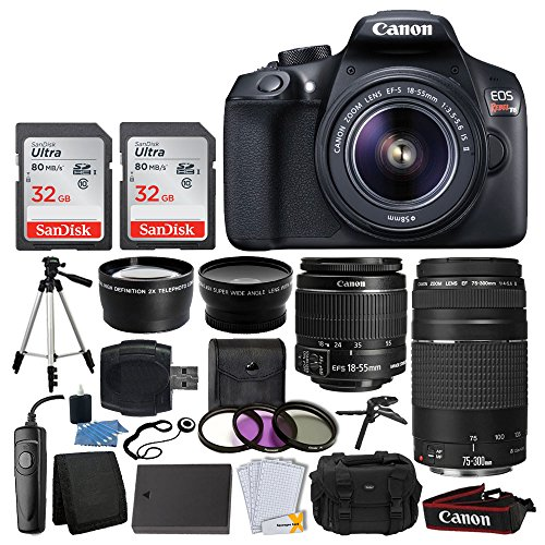 Canon EOS Rebel T6 Digital SLR + Canon EF-S 18-55mm IS II & EF 75-300mm III Lens + 58mm 2x Lens + Wide Angle Lens + Wired Remote + Extra Battery + 64GB Card + Quality Tripod + Tabletop Tripod/Handgrip by Canon