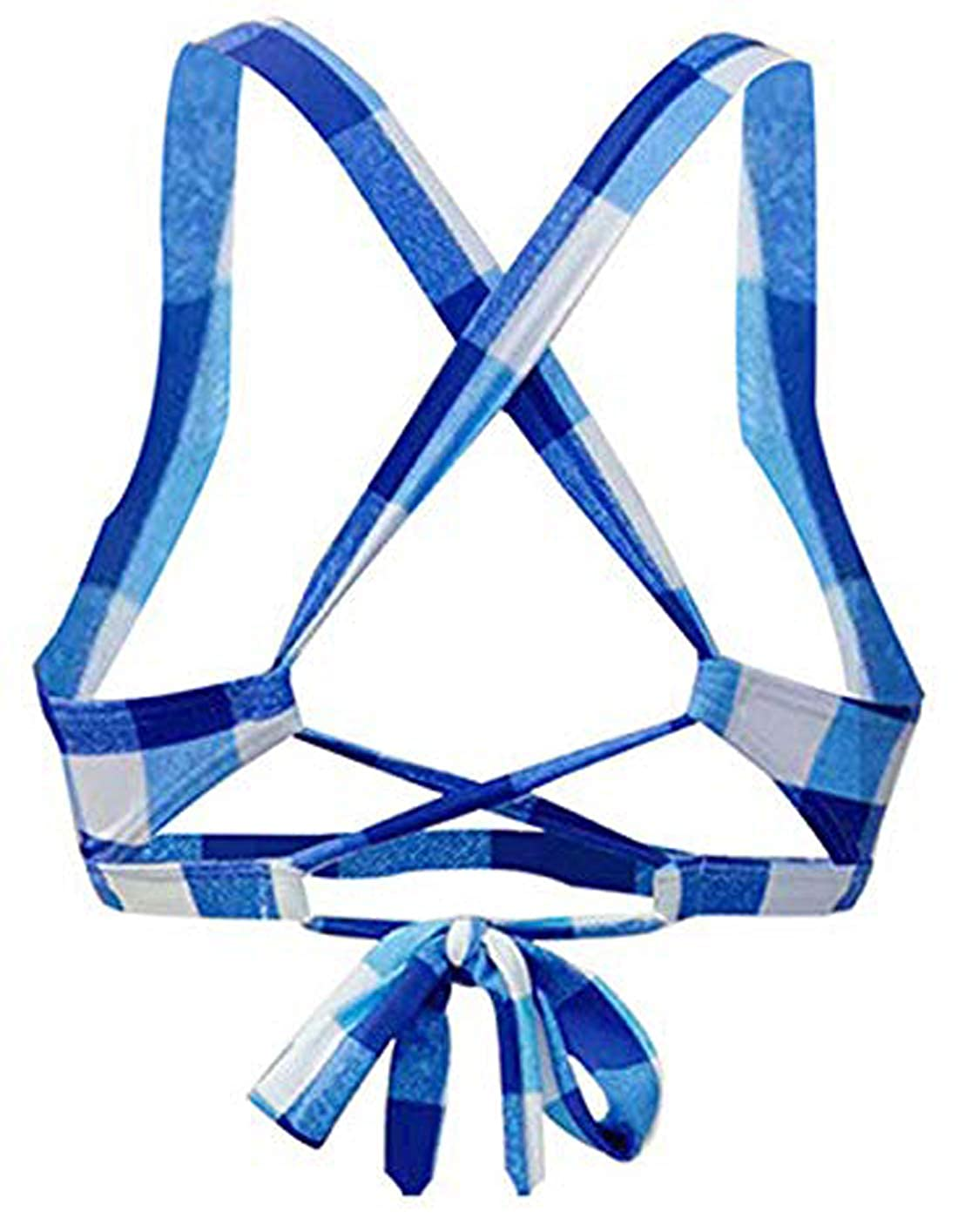 Viloree 50s Womens Bikini Top Halter Neck Padded Plus Size Audrey Hepburn Check