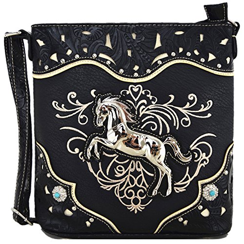 - Western Cowgirl Style Horse Cross Body Handbags Concealed Carry Purses Country Women Single Shoulder Bag (Black)