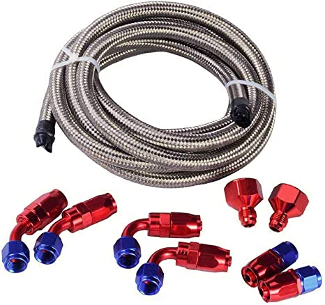 Pro Braking PBC7621-CAR-GRE Braided Clutch Line Carbolook Hose /& Stainless Green Banjos