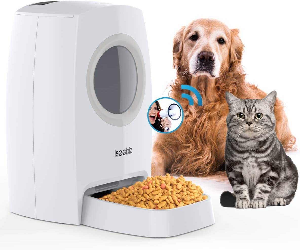 Iseebiz 6L Automatic Pet Feeder, Dogs Cats Food Dispenser 4 Meals a Day with Visible Food Window, Voice Record Remind, Timer Programmable, Portion Control, IR Detect, for Dogs Cats Pet
