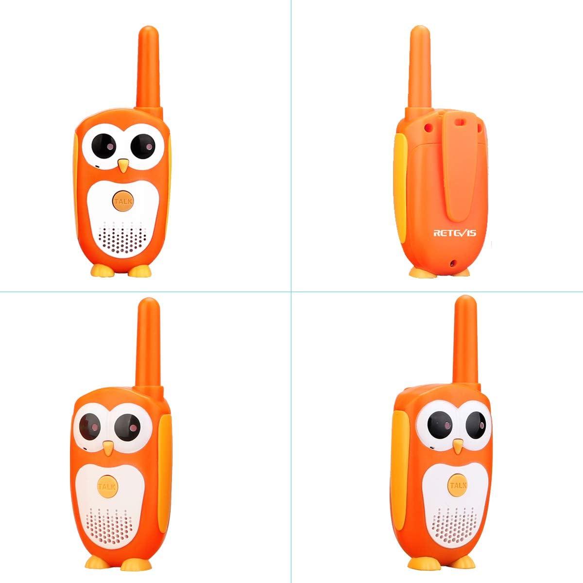Orange Retevis RT30 Talkie Walkie Enfants et Jumelles Enfant Apparence Hibou Jouets Faciles /à Utiliser Ensemble dexploration en Plein Air pour Les Gar/çons et Les Filles