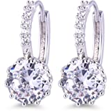 GULICX White Gold Electroplated White Cubic Zirconia Round Jewelry Hoop Lever Back Huggie Earrings