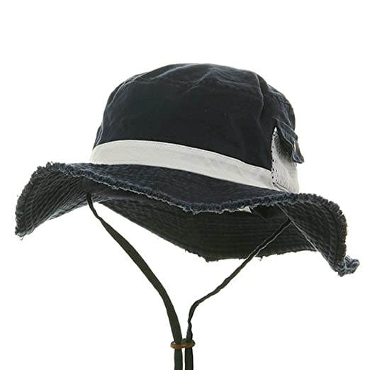 1d10889f4f1 MG Washed Frayed Bucket Hats-Navy White W11S39D at Amazon Men s ...