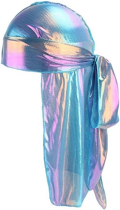 Finebo Durag en Velour Durag en Soyeux Doux Headwraps Casquette avec Longue Queue et Larges Bretelles Long Couvre-Chef Casquette Pirate Sangles Larges Chapeau Lisse