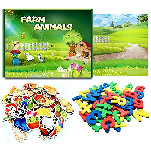 (SpriteGru 46 pcs Farm Animal Plant Magnets with Background Plate, 52 pcs Magnetic Foam Letters from A-Z ,10Numbers,3 Symbols(Total 111 pcs). Perfect for Preschool Learning)