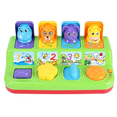 TOYANDONA Pop Up Pals Toy Color Sorting Animal Push Pop Up Toy Educational Interactive Music Toy for Kids Children No Battery (Random Color): Toys & Games