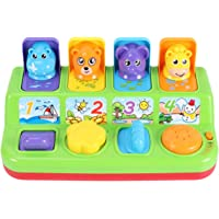 TOYANDONA Pop Up Pals Toy Color Sorting Animal Push Pop Up Toy Educational Interactive Music Toy for Kids Children No Battery (Random Color)