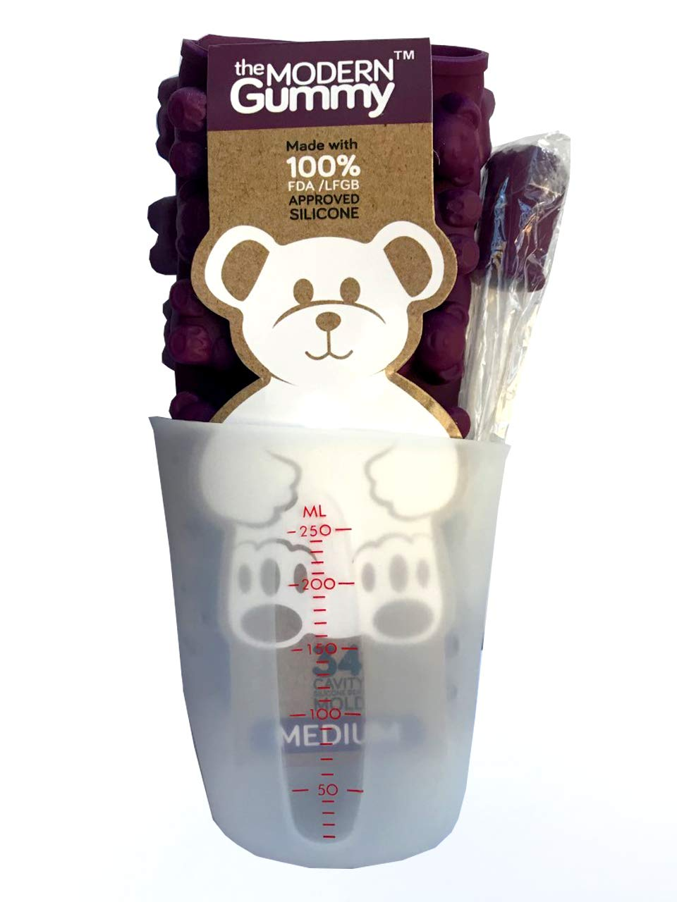 MEDIUM size GUMMY BEAR Mold with BONUS Pinch & Pour Cup + Dropper - by the Modern Gummy; Gelatin GUMMY Recipe on Package & FULL RECIPE PDF via EMAIL, PROFESSIONAL GRADE PURE LFGB SILICONE by The Modern Gummy (Image #5)