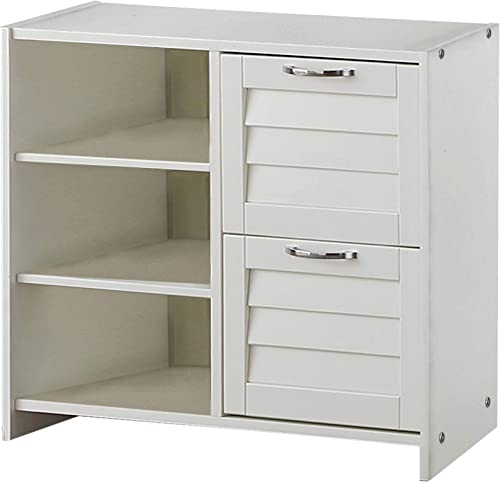 Donco Kids Louver 2 Drawer Chest/Shelves White