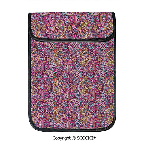 SCOCICI iPad Pro 12.9 Inch Sleeve Tablet Protective Bag Classic Asian Motifs with Flowers Like Sun Leafs and Ornamental Shapes Custom Tablet Sleeve Bag Case