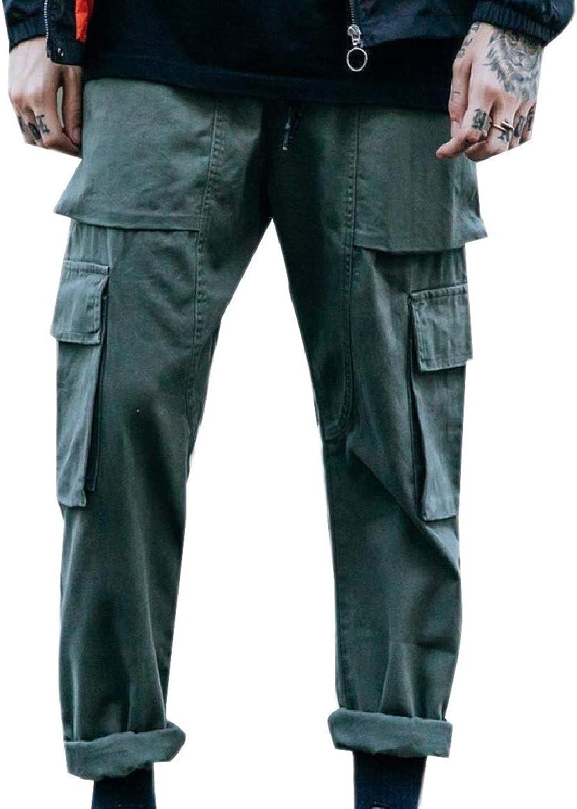 Tootless-Men Fashion Straight Leg Pure Color Multi-Pockets Combat Karate Pant