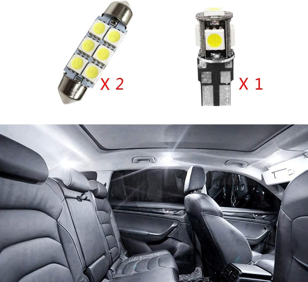 Super Bright LED Interior Lights Source Car Lamp Replacement Bulbs White Pack of 3 no sunroof For Bora Jetta MK4