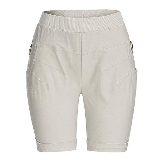 ca7d54639c wodceeke Women Cotton Linen Summer Short Pants Elastic Waist Pocket Casual  Shorts Lounge Walking Shorts(