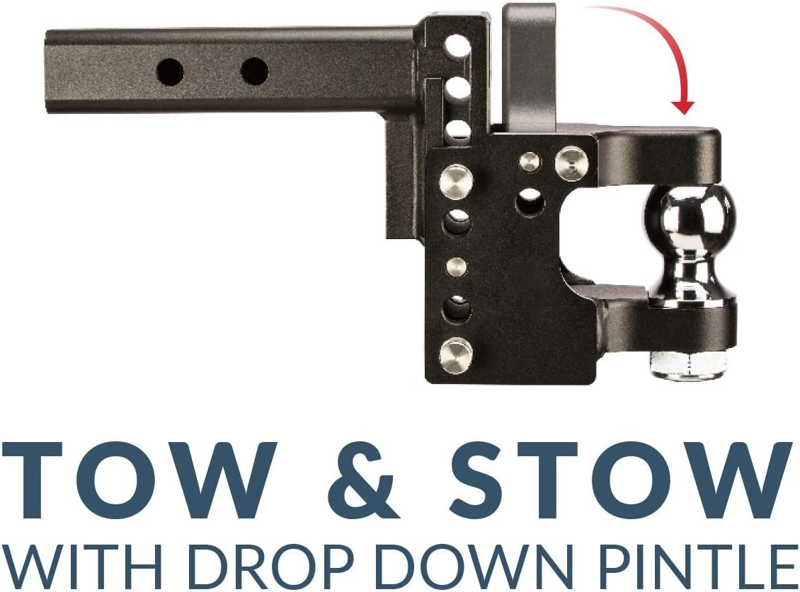 2.5 Ball B and W Hitch Tow and Stow with Pintle Drop Down 2.5 Receiver Shank