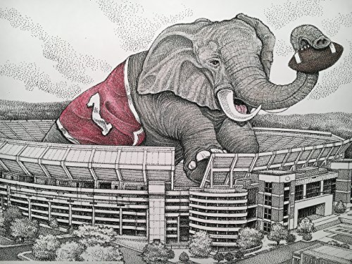 Alabama football stadium with elephant 11''x17'' pen and ink print from hand-drawn original by Campus Scenes (Image #8)