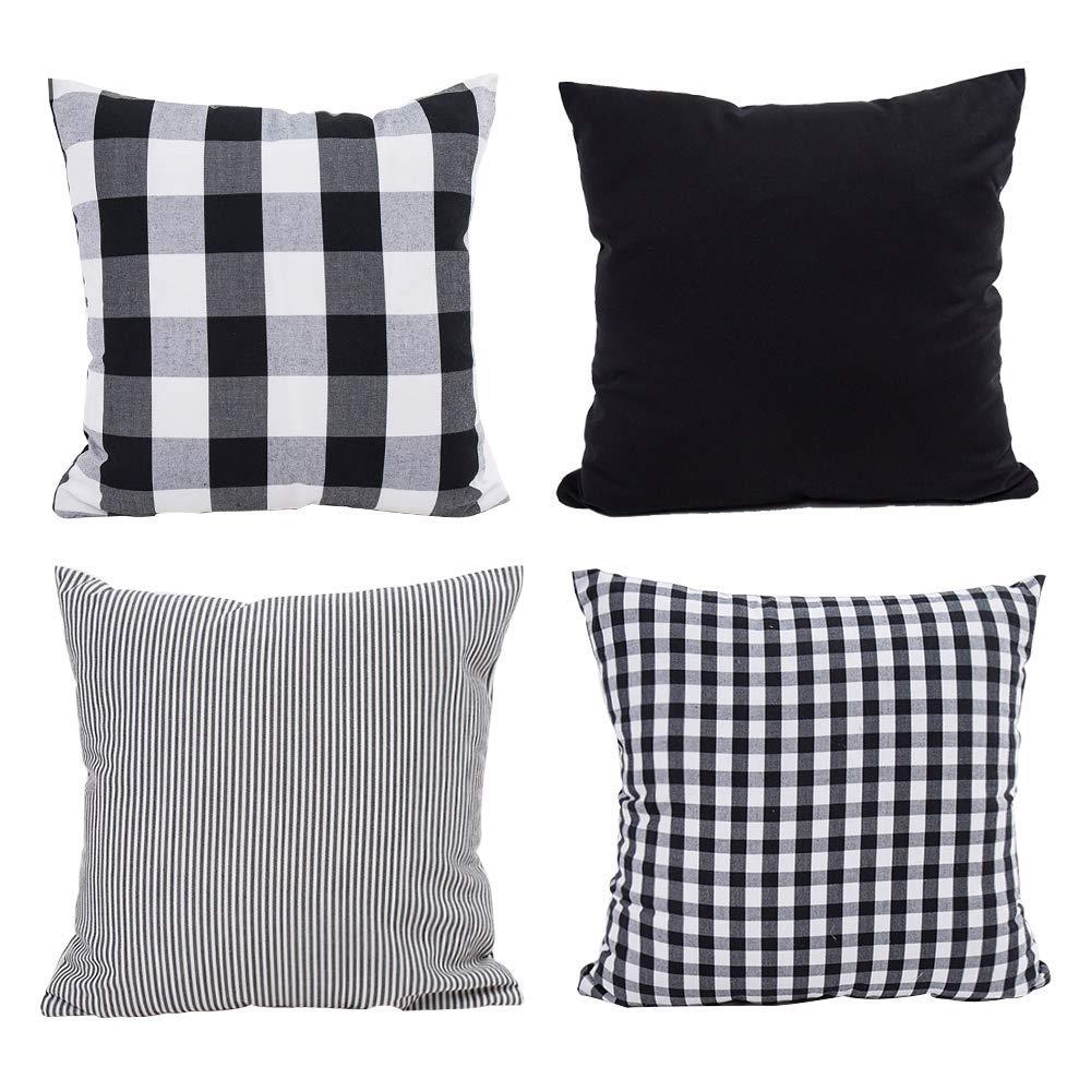 Hoplee Black Throw Pillow Set Buffalo Plaid Outdoor Pillow 20x20 Inch Set of 4
