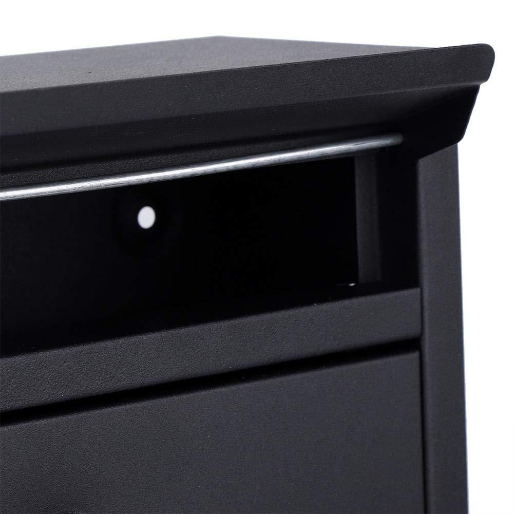 Negro Buz/ón Exterior Casilla de Correo Galvanizado de Hierro Mini Buz/ón de Correo de Pared con 2 Llaves