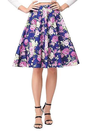 YYG Women's High Rise Classical Big Hem Floral Hepburn Midi