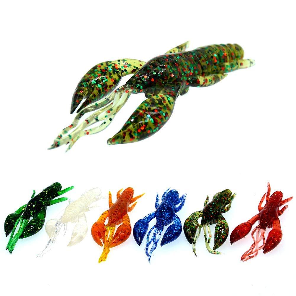 Ogquaton Se/ñuelos de Pesca Pesca en el mar Equipo de Agua Dulce 7 cm Quilla Cangrejo de r/ío Simulaci/ón Camar/ón Suave Cebo Falso Cebo Suave Color Aleatorio
