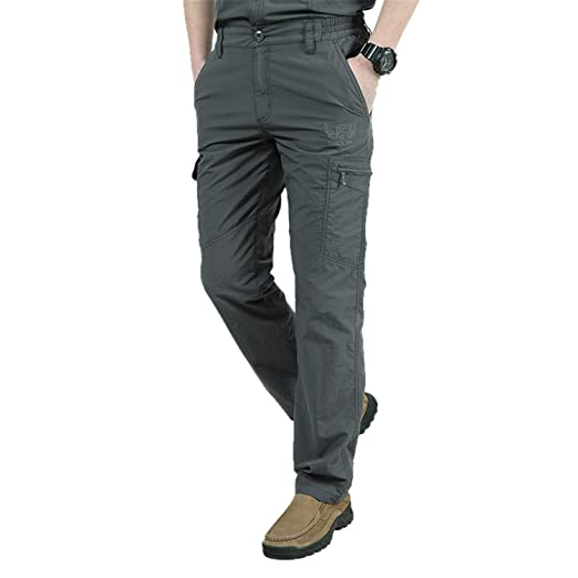 b441a79b070 Men s Military Style Cargo Pants Men Summer Waterproof Breathable Male  Trousers Joggers Army Pockets Gray 4XL