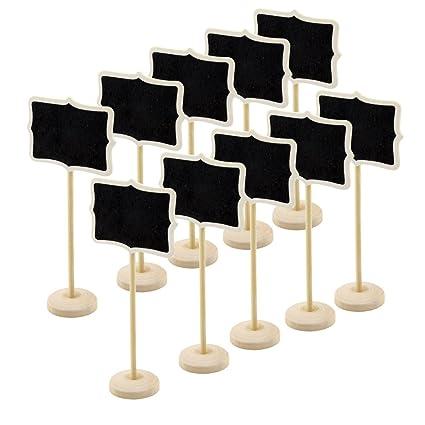 10 pizarras mini de madera rectangular con soporte y palo ...