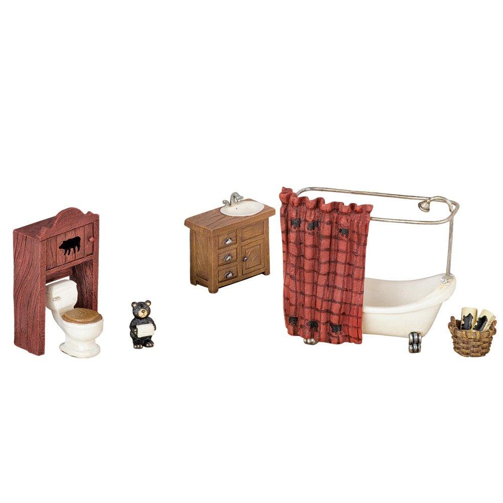 Collections Etc Northwoods Miniature Bathroom Set Winston Brands