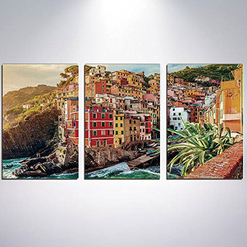a5e2216d808e7 3 Panel Canvas Prints Wall Art for Home Decoration Italy Print On Canvas  Giclee Artwork For Wall DecorRiomaggiore at Sunset Cinque Terre National  Park ...