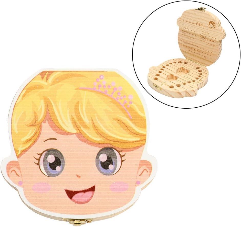 Caja de dientes para bebes, Holacha Caja de almacenaje de madera de leche de dientes Organizador imagen de niña- registrar el proceso de crecimiento del bebé