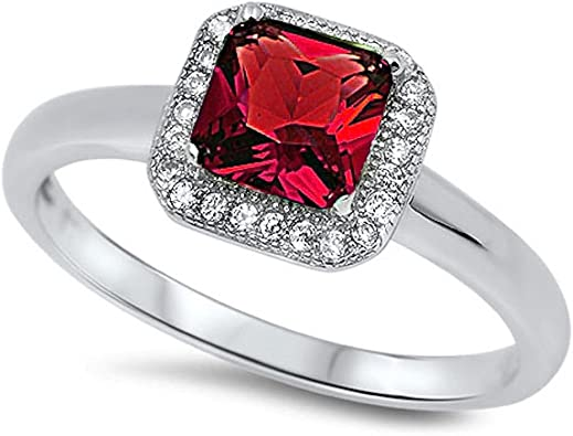 Red Ruby Square Engagement Ring Sterling Silver Red Ruby Ring Simulated Diamond Ruby Square Wedding Engagement Anniversary Ring Ruby Ring