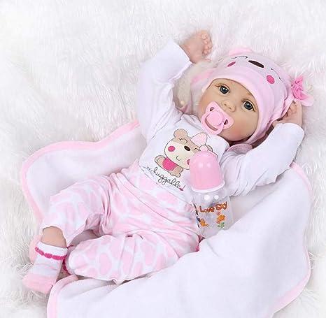 ZELY 22 Pulgadas Realista Reborn Muñeca Bebé Silicona Vinilo Real Niño Juguete Chupete magnético 55 cm Niña Dolls Ojos Abiertos