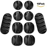 Cable Clips, Cable Organizer, Cord Management, Wire Management System, 10 Pieces, Self Adhesive for Your Wires, Charging and Mouse cord Black Form Whellen