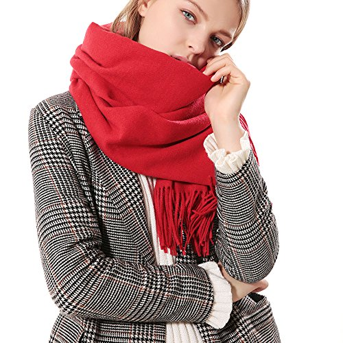 Womens Thick Soft Cashmere Wool Pashmina Shawl Wrap Scarf - Aone Warm Solid Color Stole(Red)