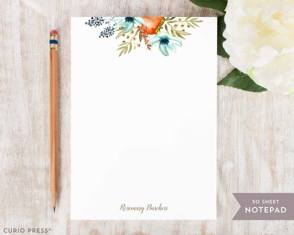B01N52YRWE FRUIT BLOOMS NOTEPAD - Personalized Pommegranate and Blue Flowers Stationery/Women's Stationary Note Pad 61wq9abmTHL