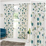 Dandelion Teal Lightweight Eyelet/Ring Top Polyester Lined Readymade Curtain Pair 66x72in(167x182cm) Approximately By Hamilton McBride by Hamilton McBride
