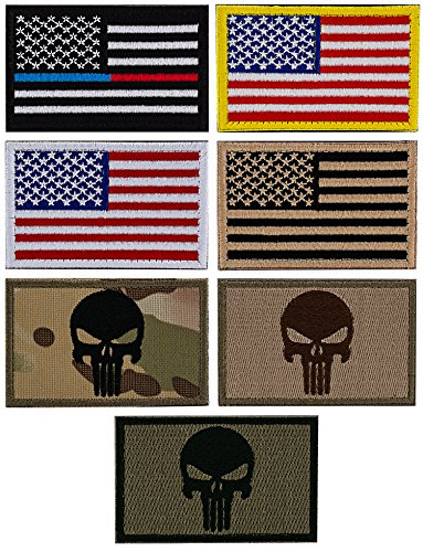 STEVEN G USA Flags Punisher Hook and Loop Interchangeable Tactical Military Patches Best American Pride Set 7 Pieces Bundle Pack for Hats Caps Backpacks Uniforms, ()
