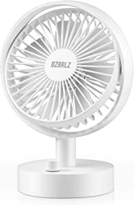 Desk Fan, BZBRLZ Cooling Fan, 10 Speed Adjustable USB Small Fan, 160°Rotatable, 2 Wind Modes, 15db Lower Noise, 5200mAh Battery Enhanced Airflow, Table Fan for Home & Office
