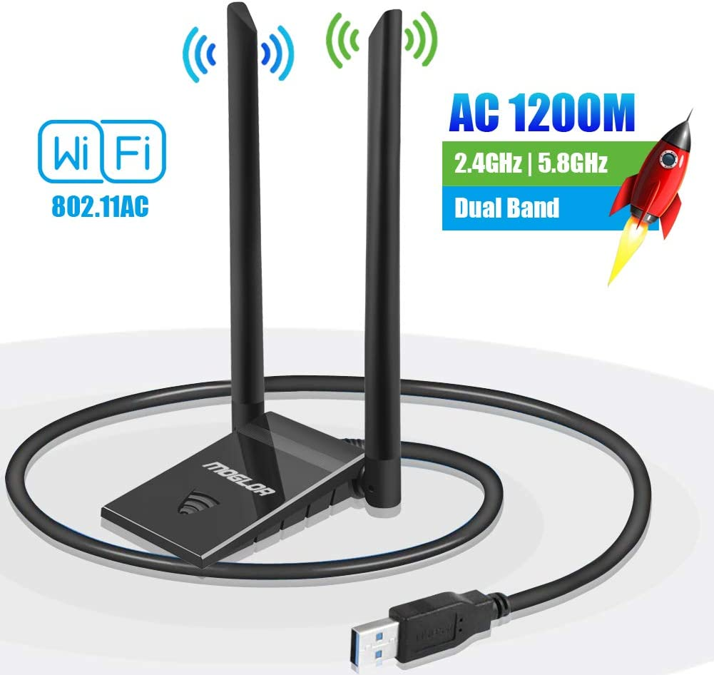 USB WiFi Adapter Dongle Antenna 5GHz/867Mbps 2.4GHz/300Mbps Wireless AC 1200Mbps for PC Dual Band Network for Desktop Laptop Windows XP/Vista/7/8/10 MAC OS with Extension Cable