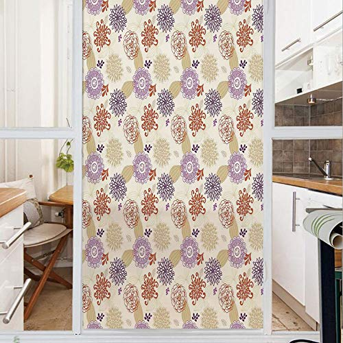Decorative Window Film,No Glue Frosted Privacy Film,Stained Glass Door Film,Colored Ornate Flowers and Leaves Blossoms Ethnic Bohemian Floral Swirls Art Deco Decorative,for Home & Office,23.6In. by 47