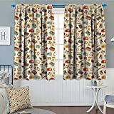 Anniutwo Vintage Room Darkening Curtains Retro Pattern Old Fashioned Icons Alarm Clock Typewriter Gramophone Radio Cassette Decor Curtains By 72'' W x 84'' L Multicolor