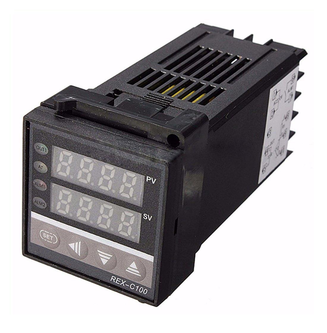 Temperature Controller PID REX-C100 digital 220 V K Thermocouple Heatsinks PID Controller Kit max.40A SSR