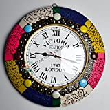 Beautifully Handmade Wall Clock by STAR INDIA CRAFT - 16'' Round Analog Silent Wall Clock Non Ticking Easy to Read For Home Office School Clock
