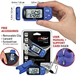 Realalt 3DTriSport Walking 3D Pedometer with Clip and Strap, Free eBook | 30 Days Memory, Accurate Step Counter, Walking Distance Miles/Km, Calorie Counter, Daily Target Monitor, Exercise Time.