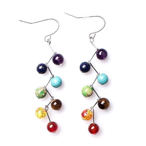 90d39c3fc By Earrings,Semi Precious Stone Earrings Chakra Ctystal Healing Balancing  Reiki Yoga Meditation Jewelry(