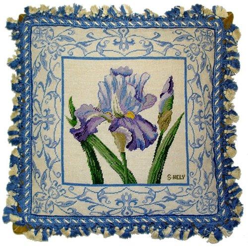 Deluxe Pillows Rich Blue Iris - 18 x 18 in. needlepoint pillow