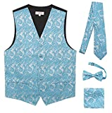 JAIFEI Premium Men's 4-Piece Paisley Vest For Sleek Looks On Formal Occasions (M (Chest 39), Turquoise)