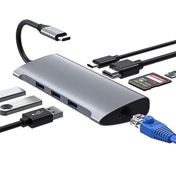 Hub USB C, Adaptador USB Tipo C 4K HDMI y Adaptador RJ45 con 3 Puertos USB 3.0, Lector de Tarjetas SD/TF y Puerto de alimentación USB C Adaptador USB ...