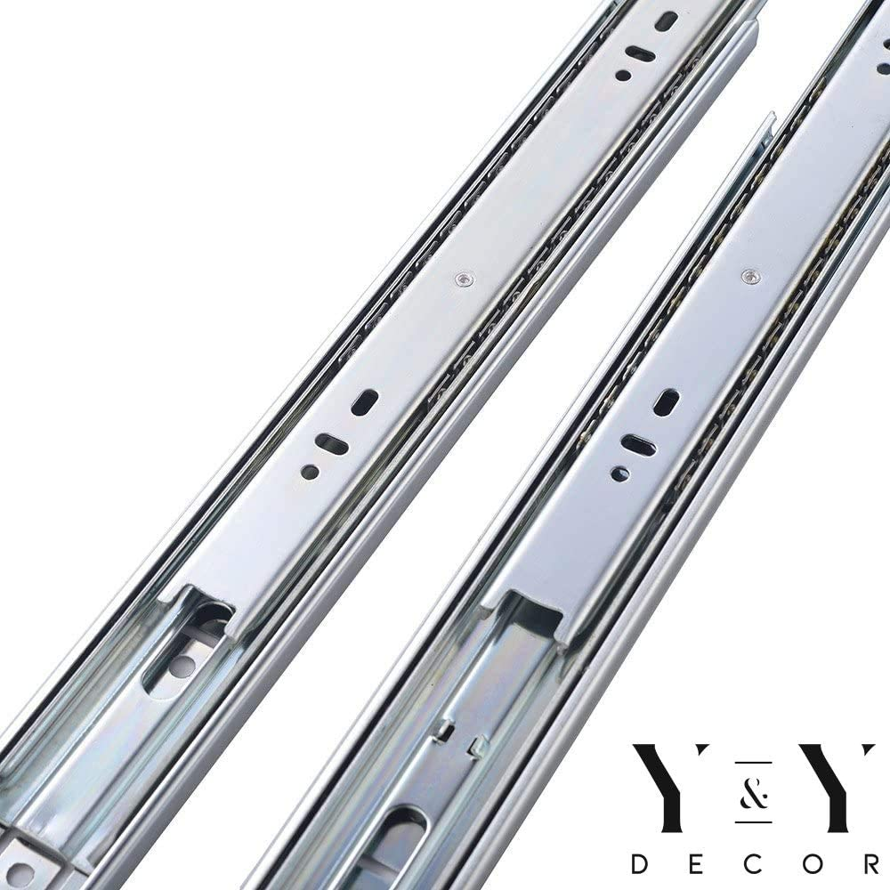 22 Zinc 100 Lbs Y/&Y Decor Pack of 10 Pairs 22-inch Ball Bearing Full Extension Drawer Slides